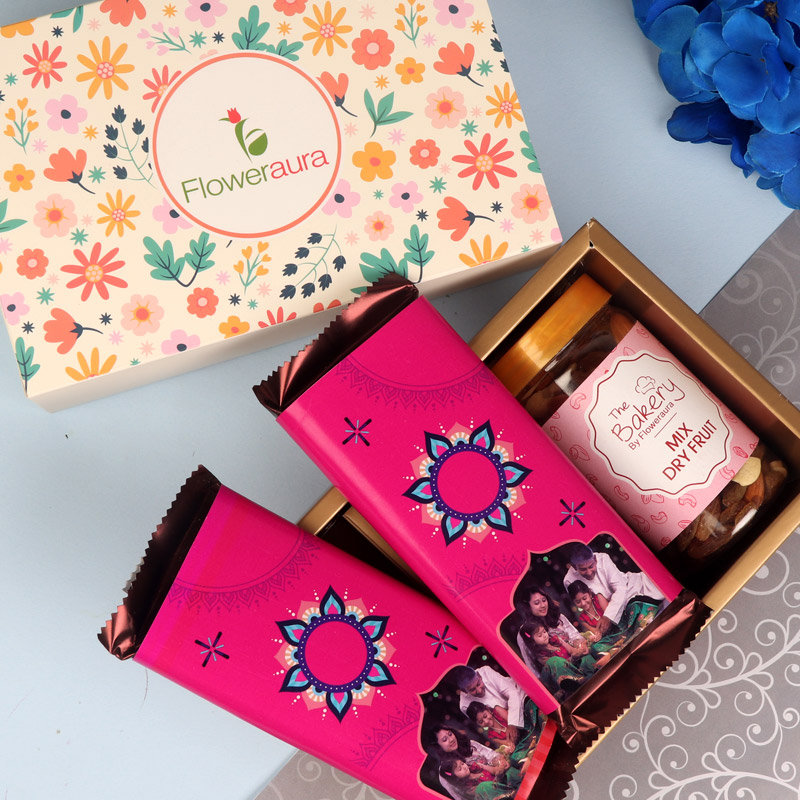 A Floweraura Diwali Gift Box of Dry Fruits and Personalised Chocolate