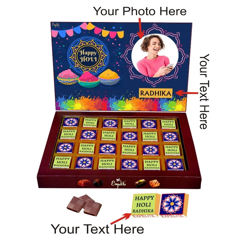 Customized Chocolate Holi Gift Pack Online- 24pc Holi Gift For Wife