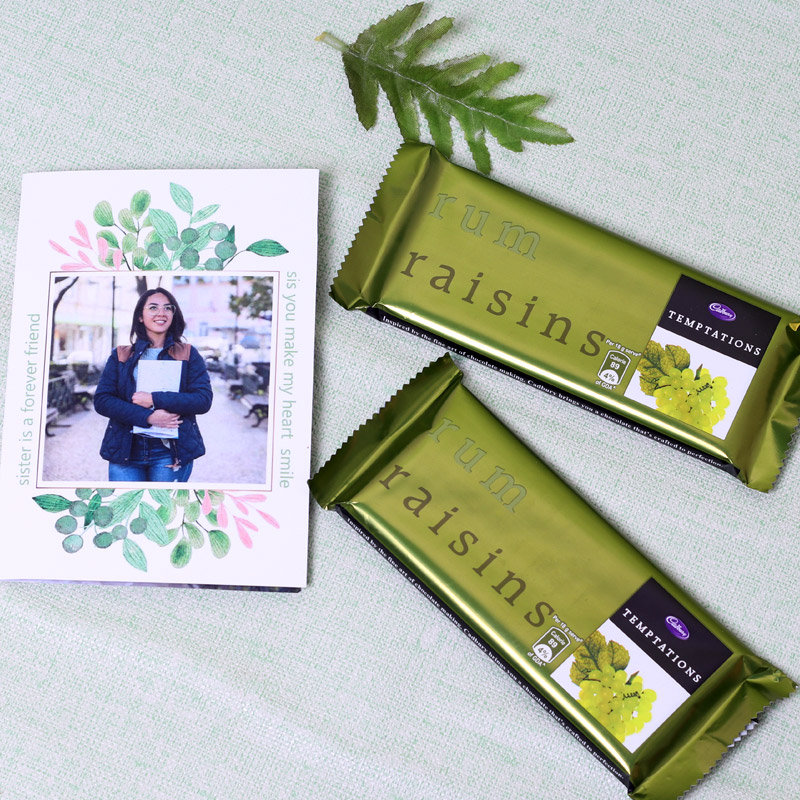 Personalised Greeting Card with Chocolates for Sister