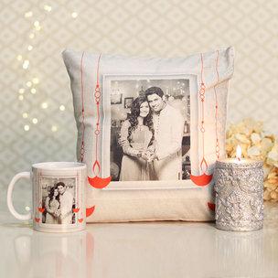 Personalised Cushion Mug N Candle Combo - Diwali Gift