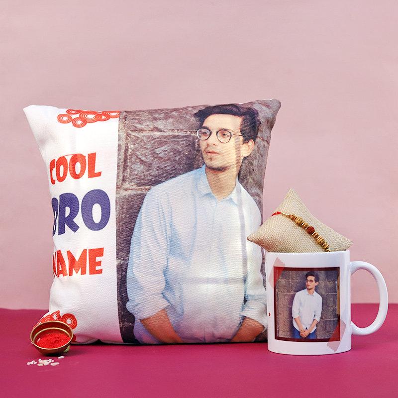 Personalised Cushion Mug N Rakhi