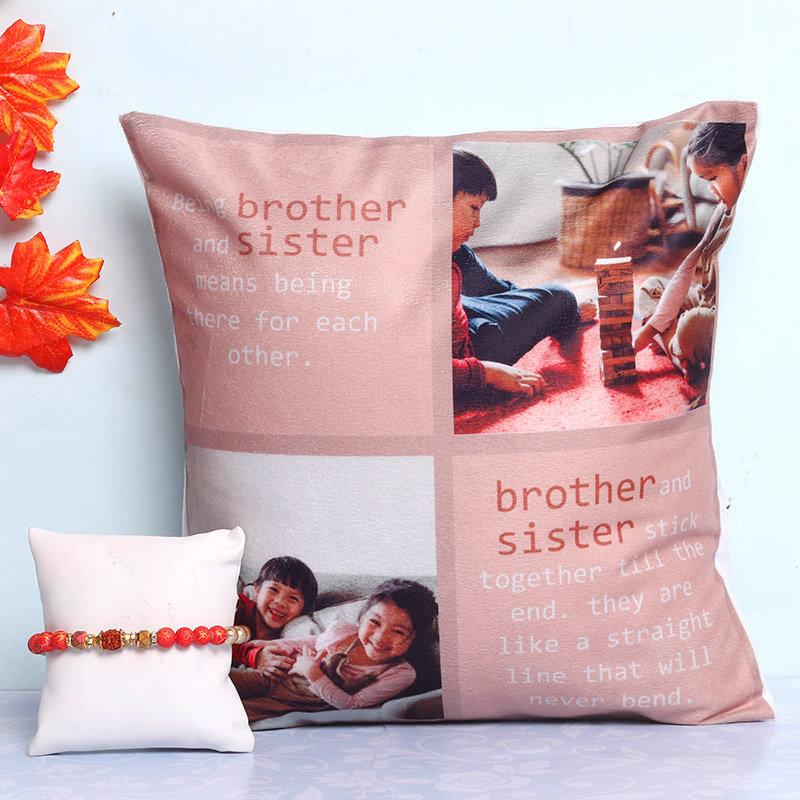 Personalised Cushion Rakhi Combo