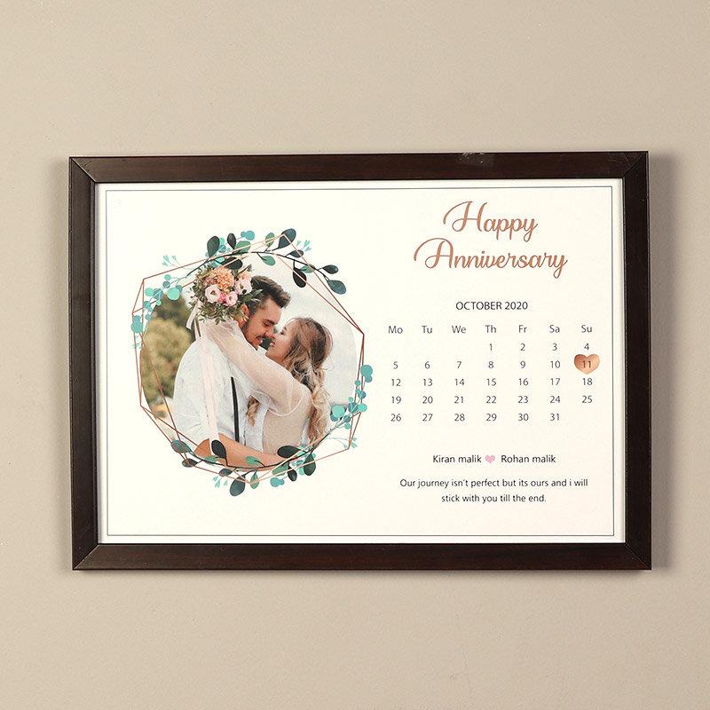 Personalised Framed Anniversary Date Calendar