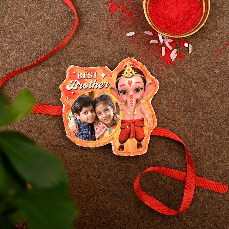 Personalised Ganesha Rakhi Pack - One Ganesha Personalised Rakhi