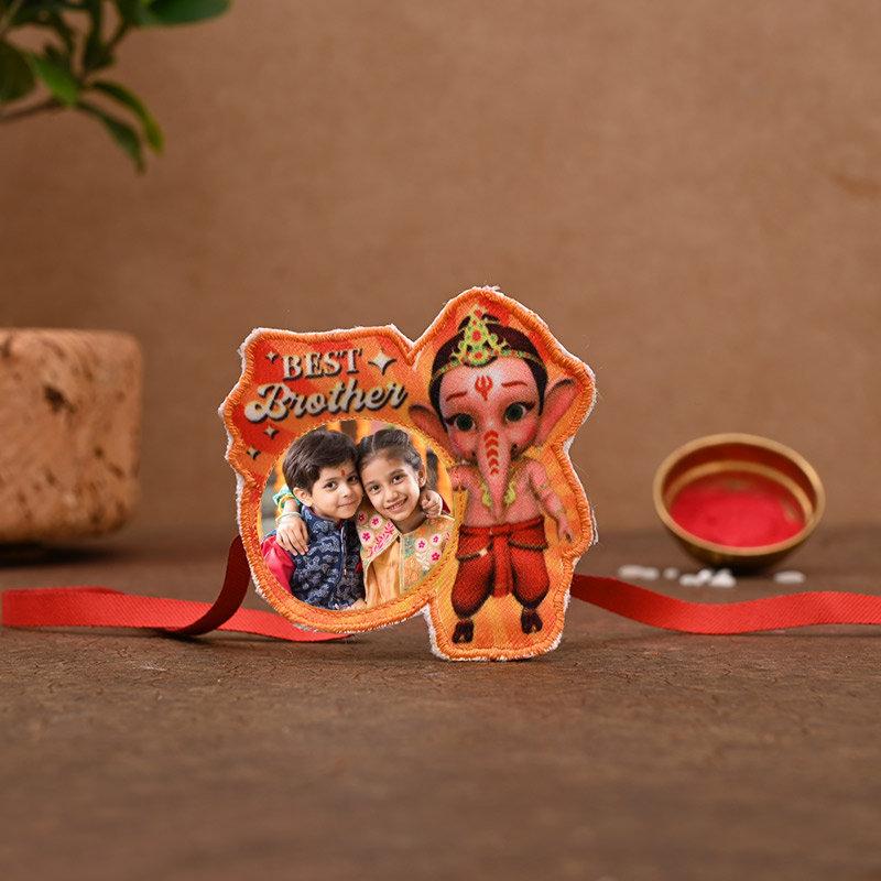 One Ganesha Personalised Rakhi - Personalised Ganesha Rakhi Pack