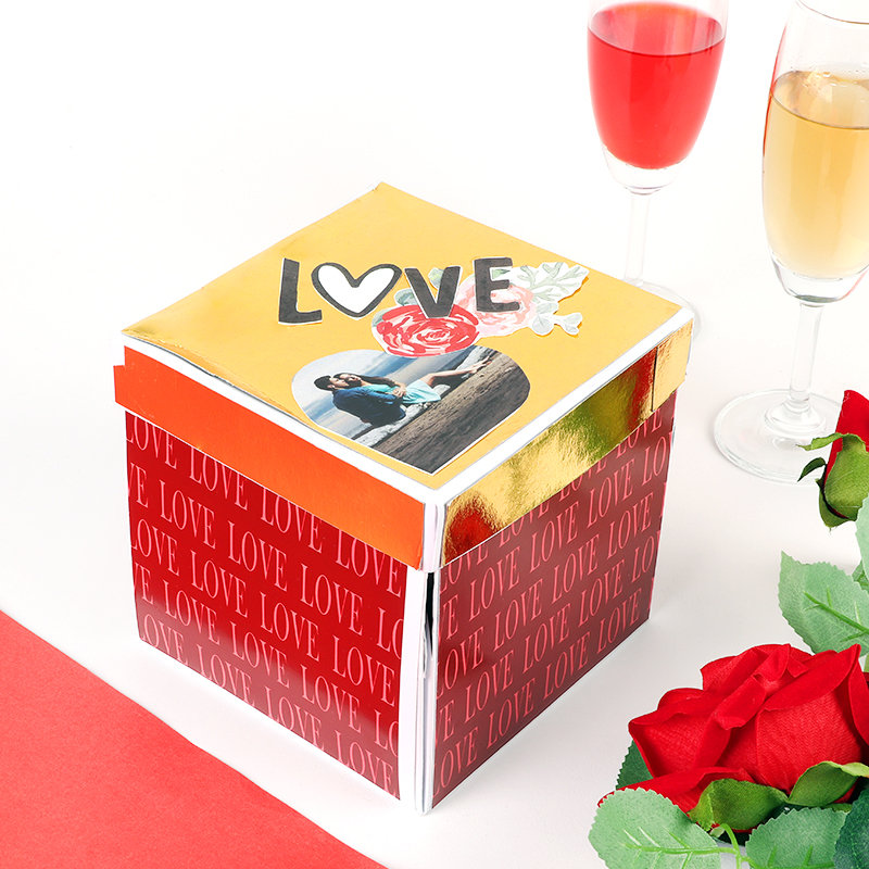 Personalised Golden And Red Love Box
