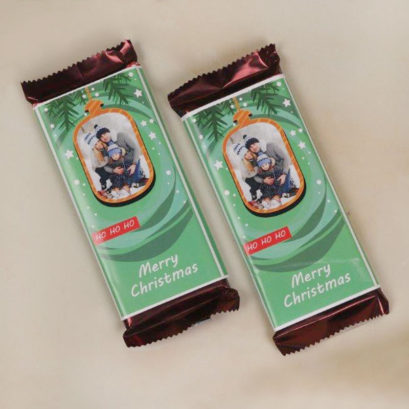 Personlised Christmas Chocolates Wrapped in Green Wrapper