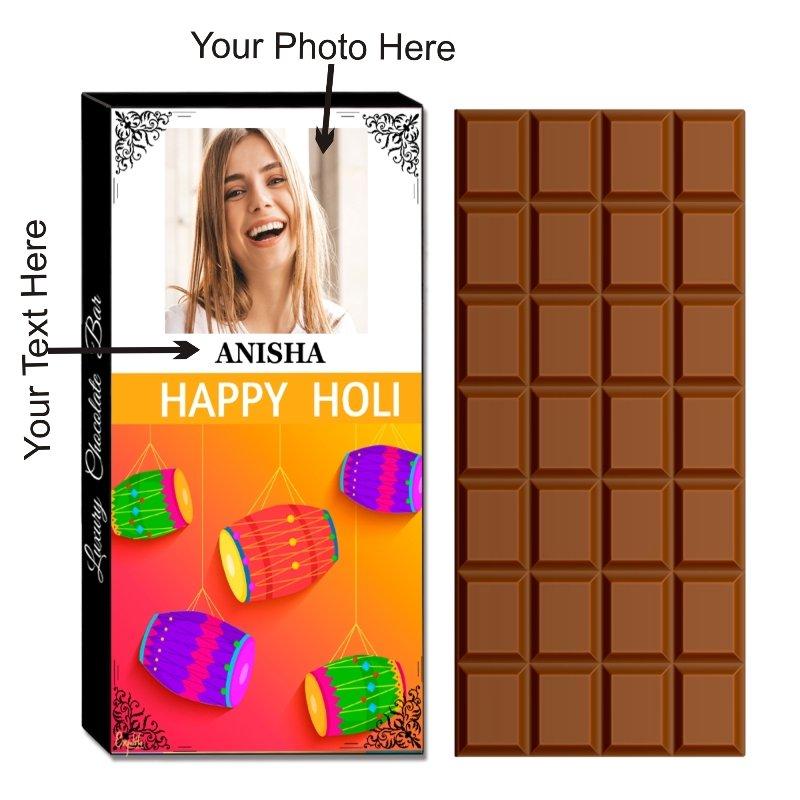Personalized Best Holi Chocolate Gift For Kids -100 g Holi Gift Box