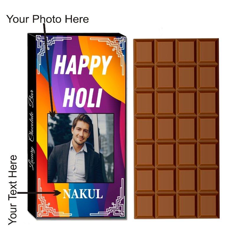 Personalized Unique Gift on Holi -100g Holi Chocolate Gift Bar