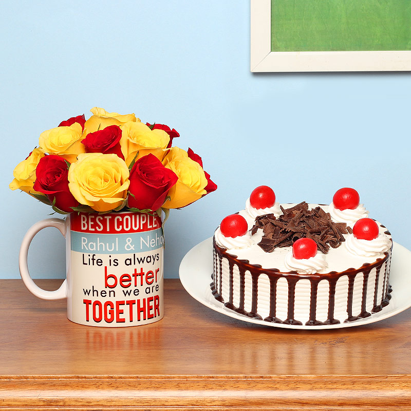One Personalised Ceramic Mugand Mixed Roses with 500gm Blackforest Cake
