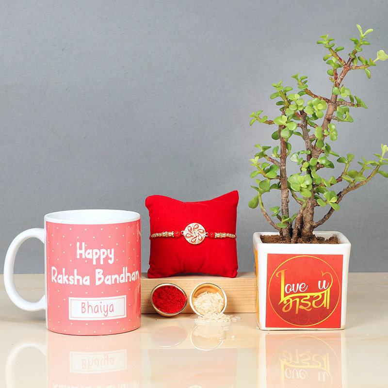 Rakhi with Jade Plant and Personalised Mug
