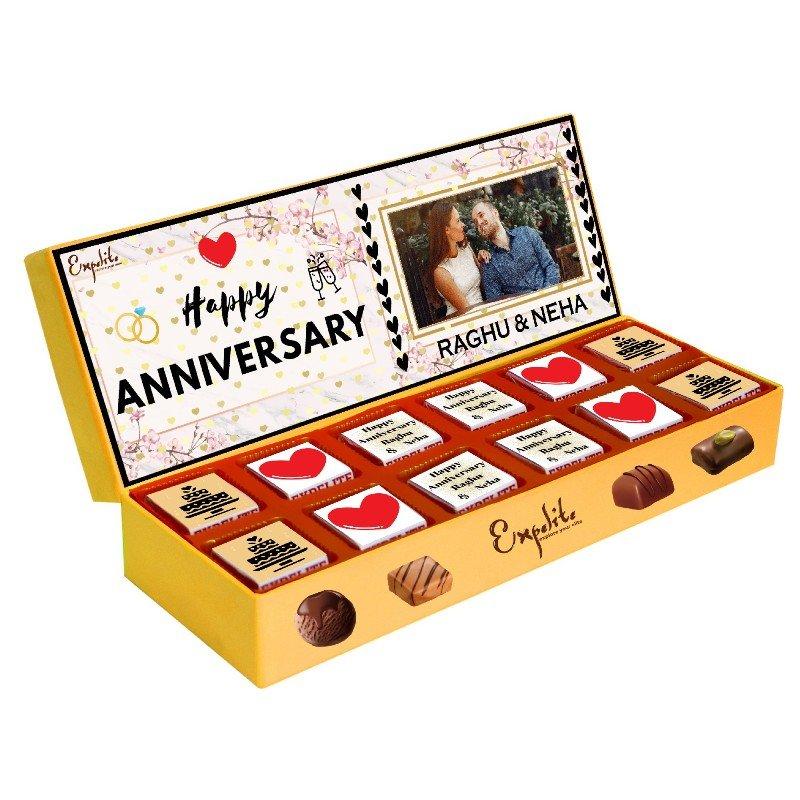 12 Pieces of Premium Personalised Anniversary Chocolates