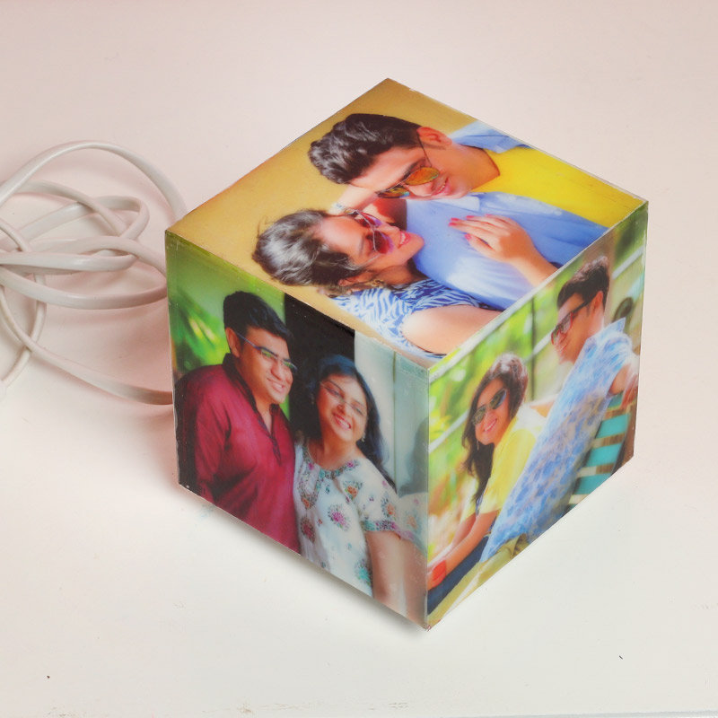 Qubical Personalised Lamp with 5 Images with Top and Side View