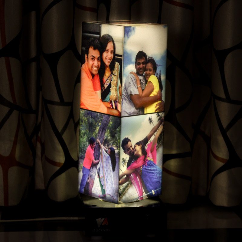 Personalised Pillar Rotating Photo Lamp