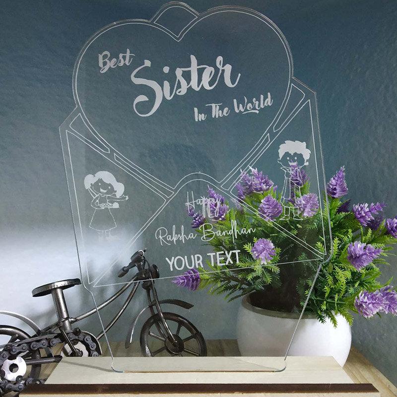 Personalised Sister LED Lamp - Rakhi Gifts for Sister Online