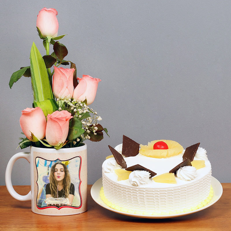 One Personalised Ceramic Mugwith 5 Pink Roses and 500gm Pineapple Cake