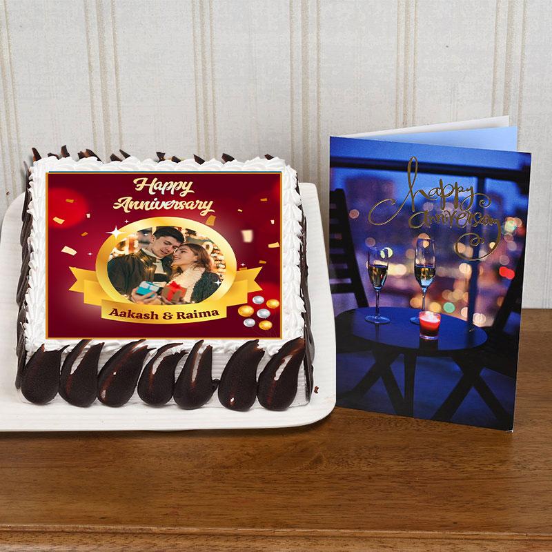 Photo Anniversary Cake And Gifting Card