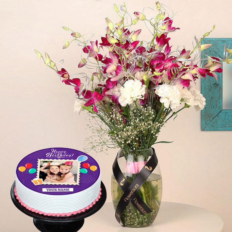 Photo Bday Cake Orchid Vase Combo