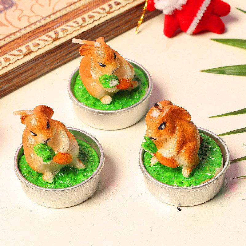Piece Of Cuteness - Three 3 Inch Rabbit Shaped Tealight Candles