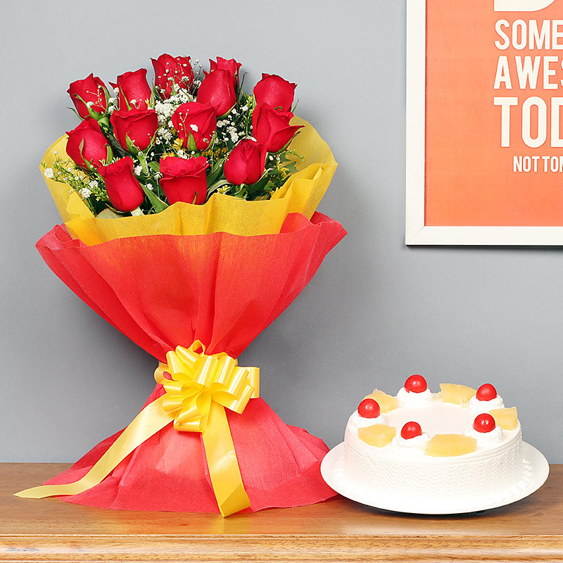 Red Roses with Pineapple Cake Combo