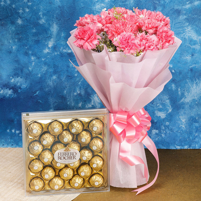 Chocolaty Combo of Pink Flower and Chocolate