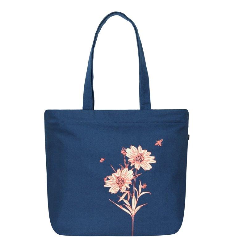 Pink Flower Tote: Happy Flowers Large Zipper Tote Bag