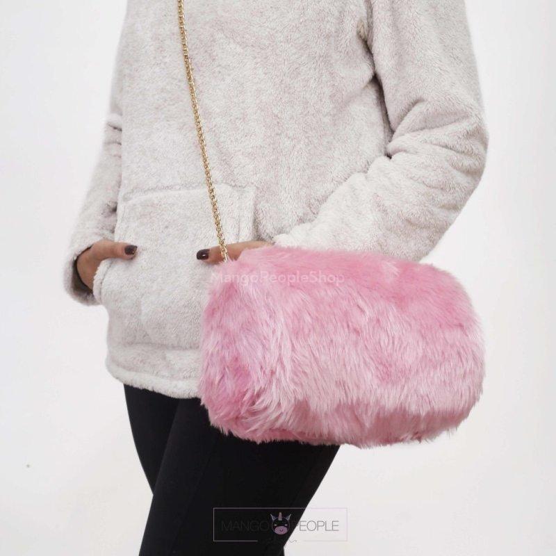Pink Fur Duffle Bag