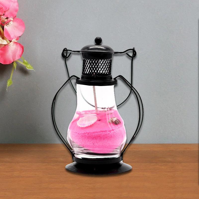 Pink Gel Lantern Candle