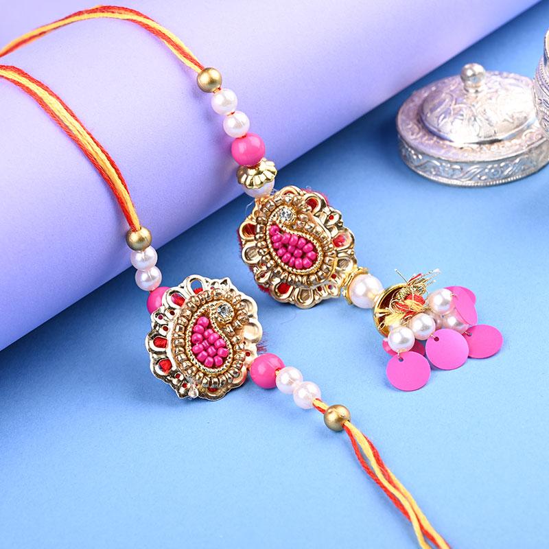 Pink Gold Pearl Designer Rakhi