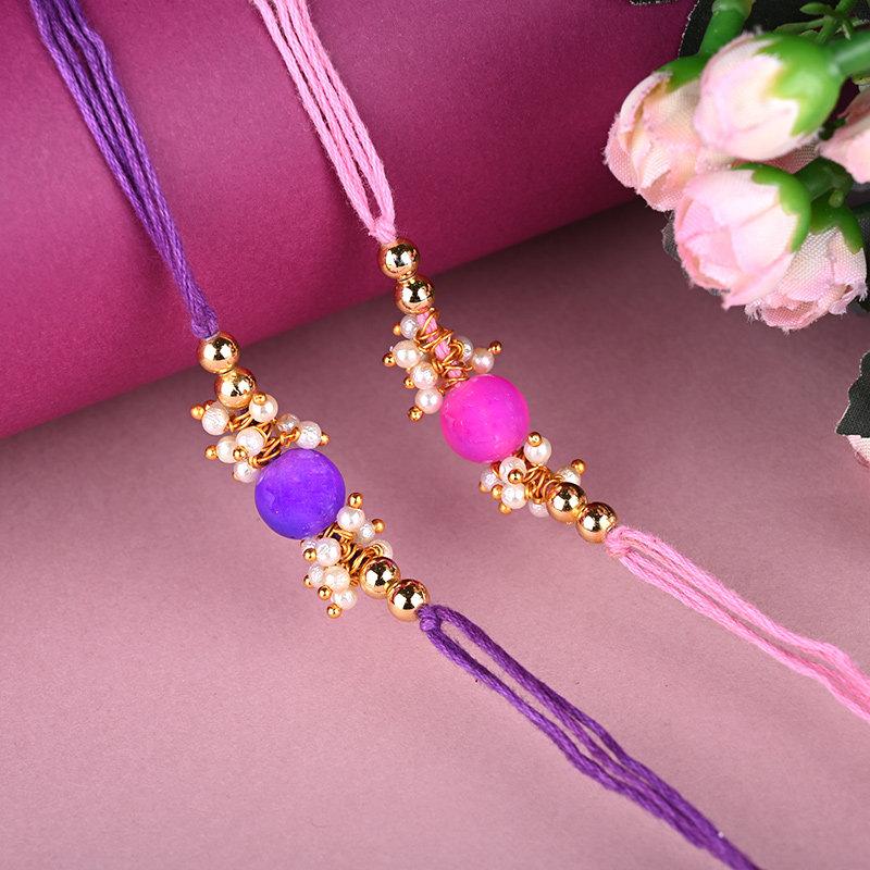 Pink N Purple Rakhi Set - Set of 2 Designer Rakhi
