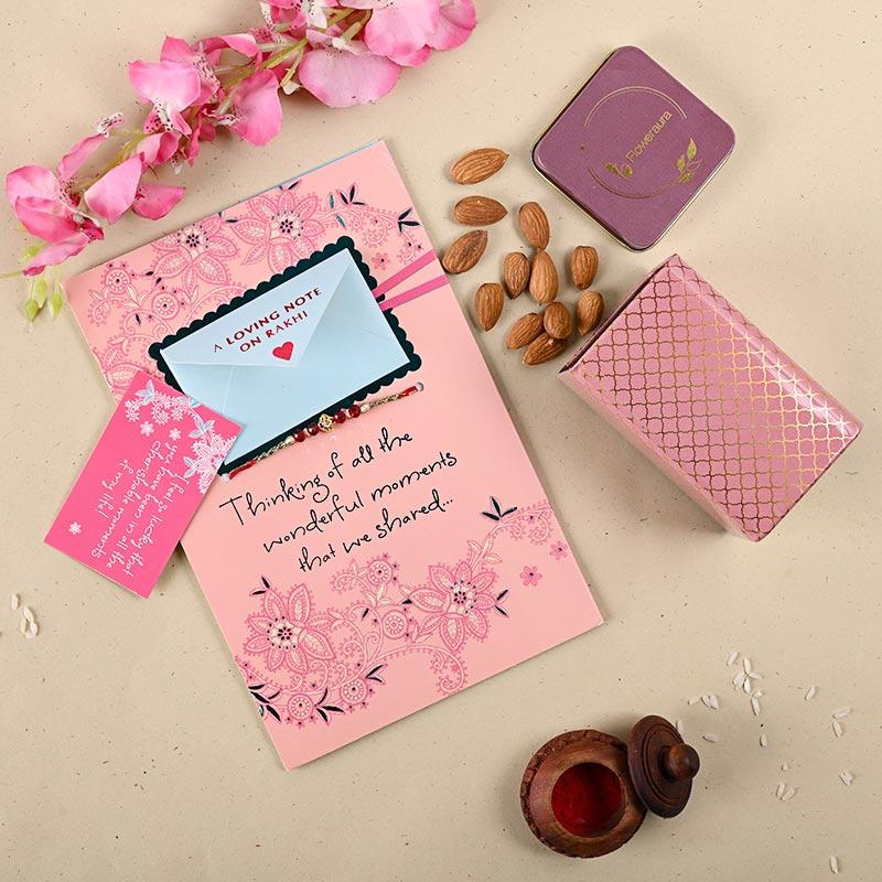 Pink Rakhi Card Combo