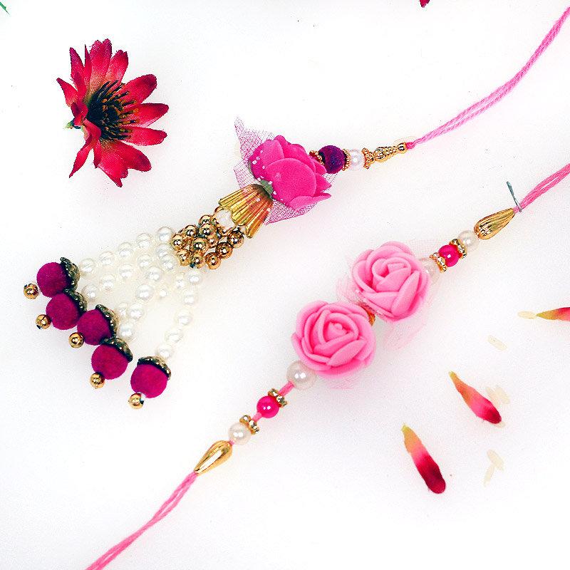 Pink Rose Bhaiya Bhabhi Rakhi - Bhaiya Bhabhi Rakhi Set and Complimentary Roli and Chawal