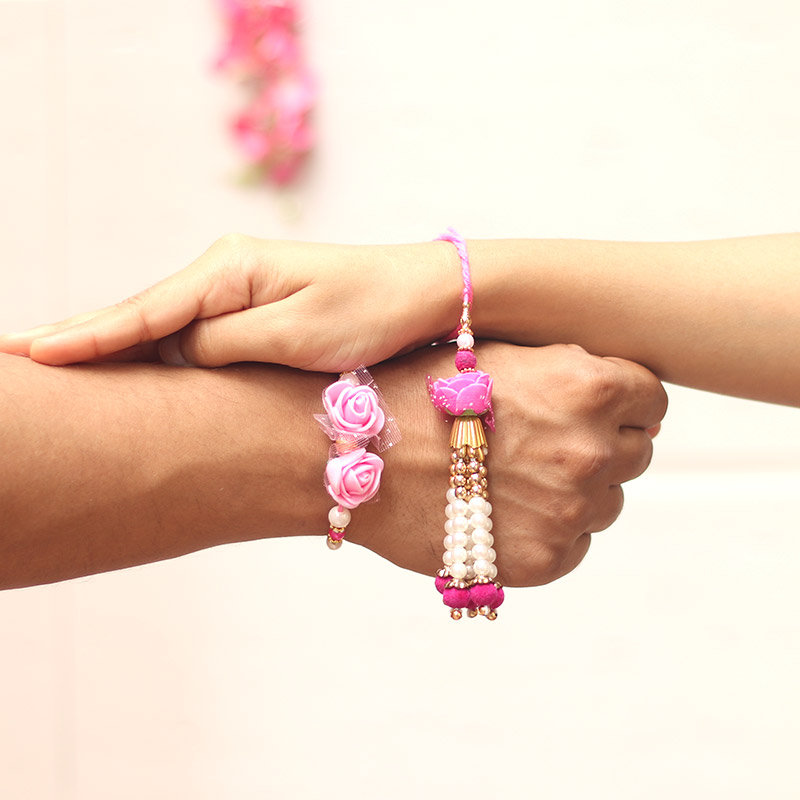 Pink Rose Bhaiya Bhabhi Rakhi - Online Rakhi Gifts for Bhaiya Bhabhi