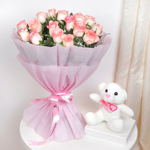 Pink Roses White Teddy