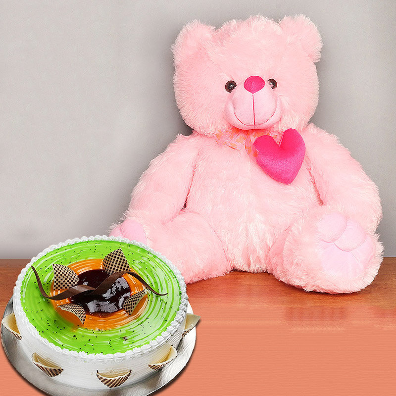 Pink Tenderness - 22 Inch Teddy with 1 Kg Fruit Cake