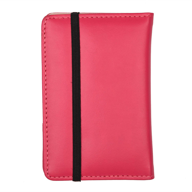 Side View of Dimension of Plushy Pink Passport Wallet