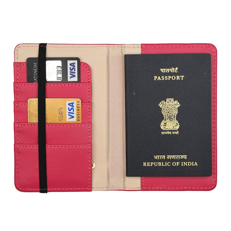 Inner Side of Dimension of Plushy Pink Passport Wallet