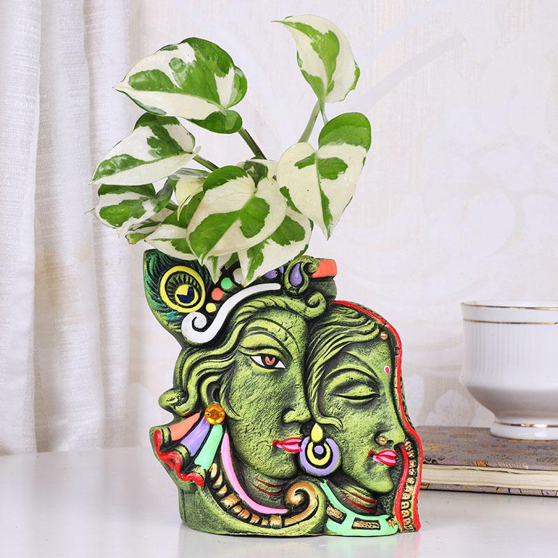 Pothos In Radhe Krishna Designer Vase