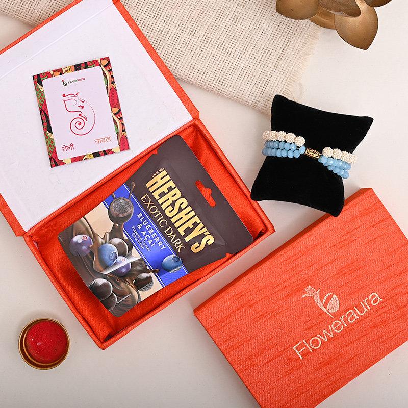 Premium FA Rakhi Box - Bracelet Rakhi With Floweraura Box