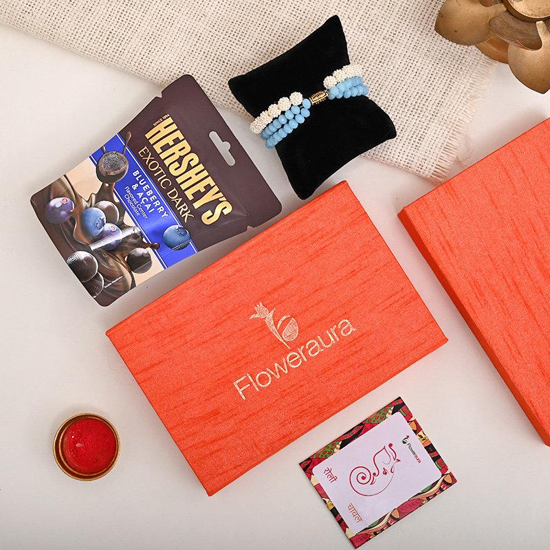 Bracelet Rakhi With Floweraura Box - Premium FA Rakhi Box