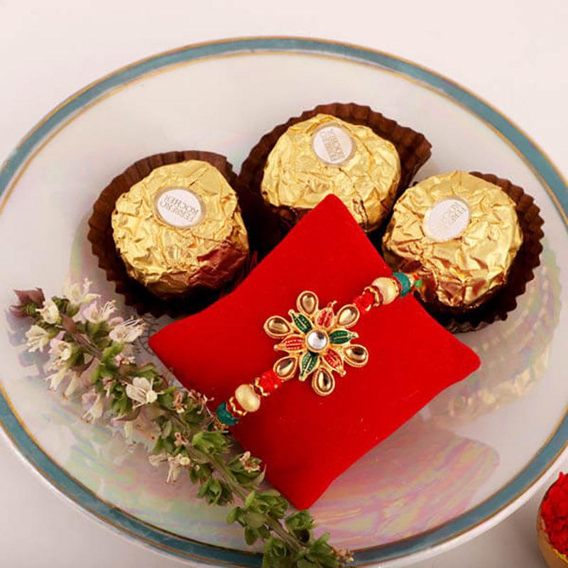 Pretty Floral Rakhi & Ferrero Rochers