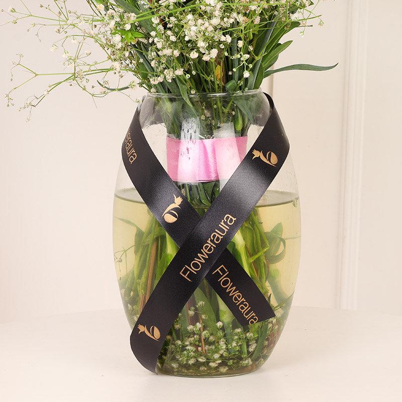 Pretty Orchids N Carnations Bouquet vase