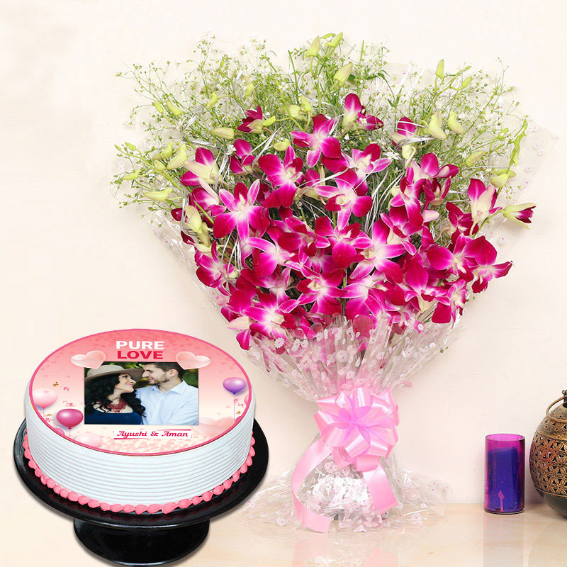 Pure Love Cake And Flowers Combo