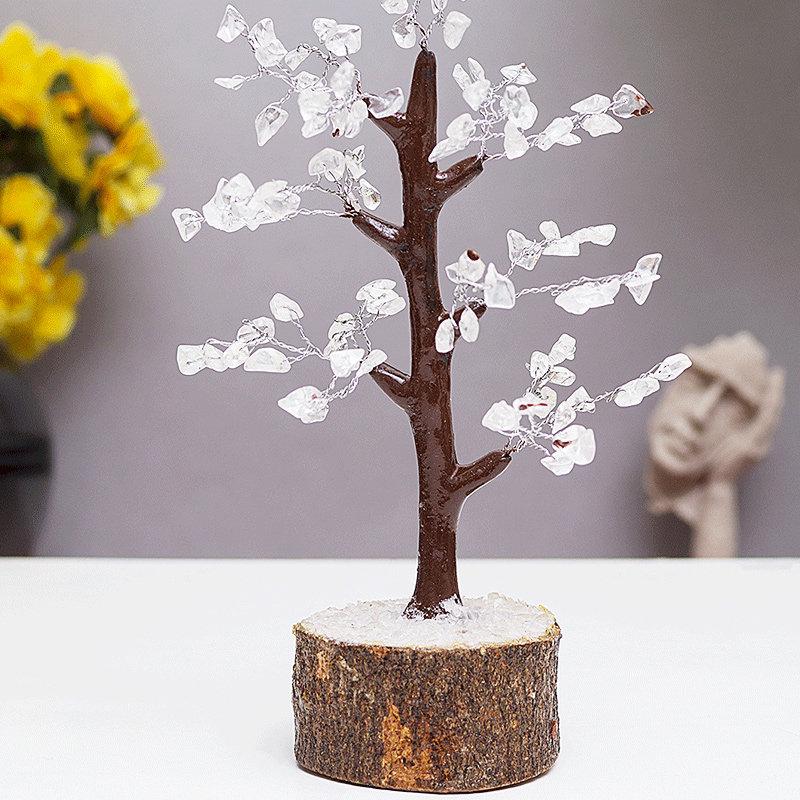 Pure White Agate Wish Tree - White Agete wooden wishing tree
