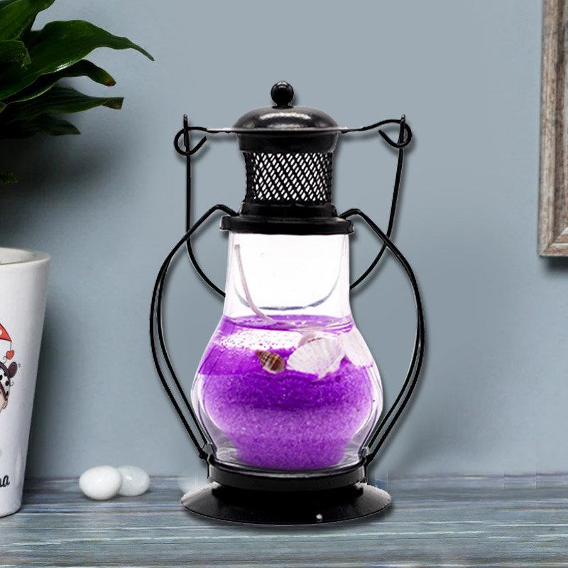 Purple Gel Lantern Candle