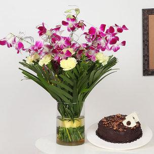 Purple Orchids N Choco Cake Combo