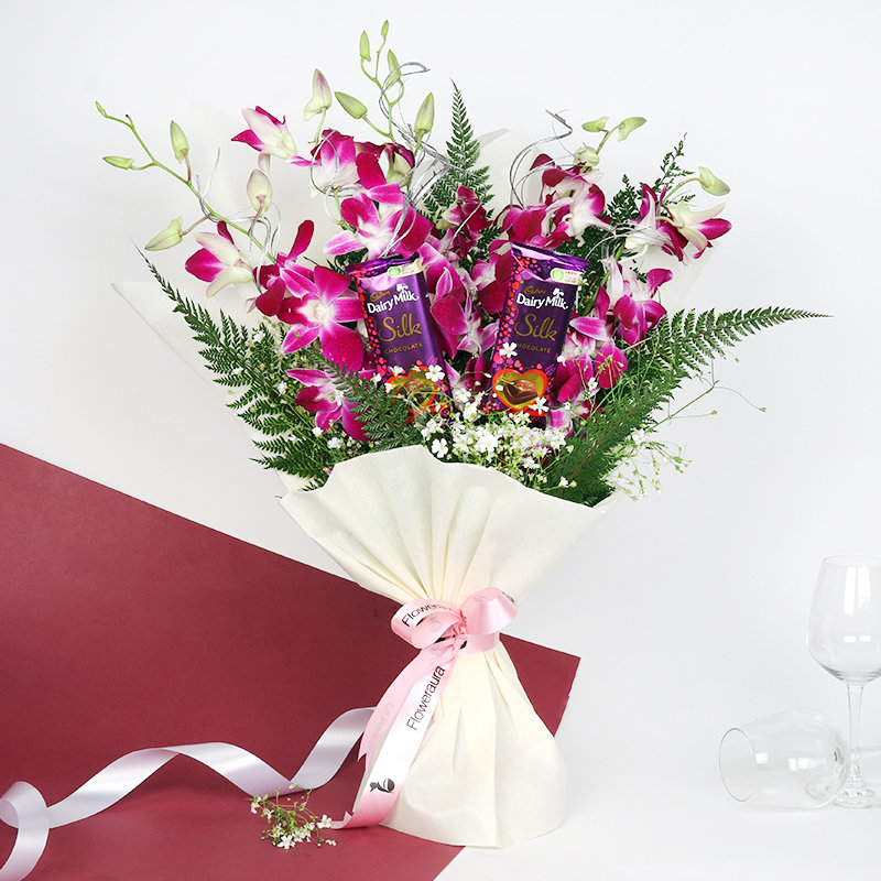 Purple Orchids Silk Bouquet: Bunch of 5 Purple Orchids in White Paper Packing