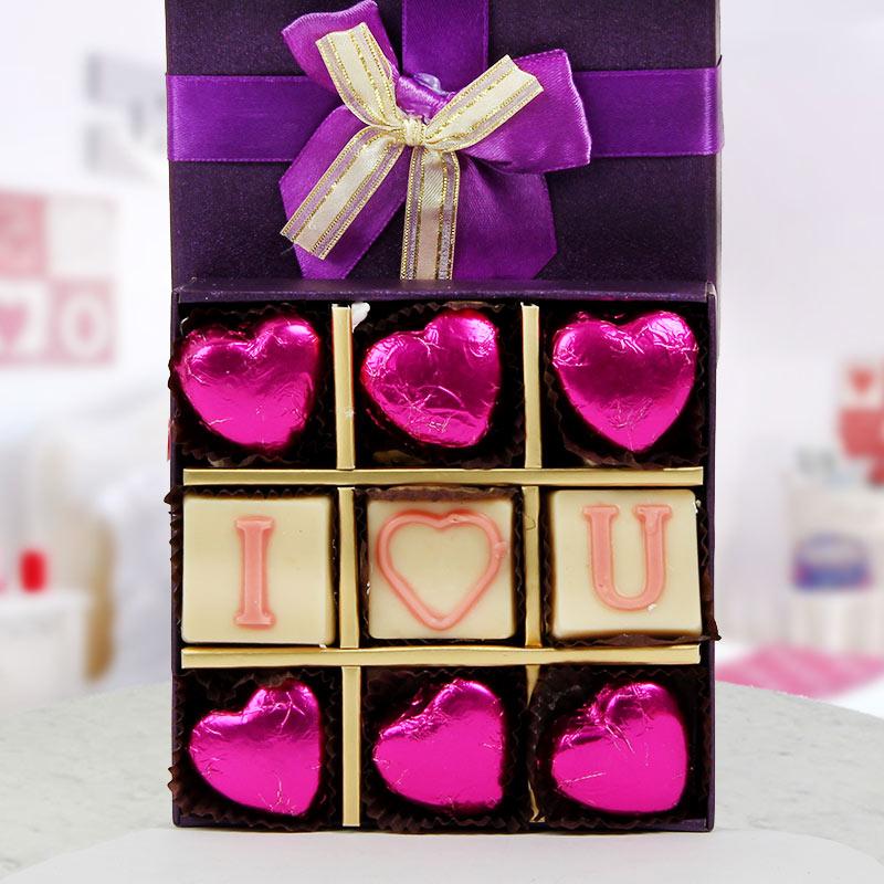 A pack of 9 I Love You handmade chocolates