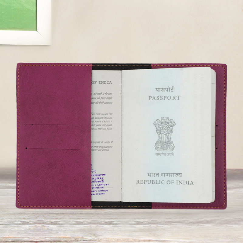 Inner Side of Customized Passport Cover in Purple Color