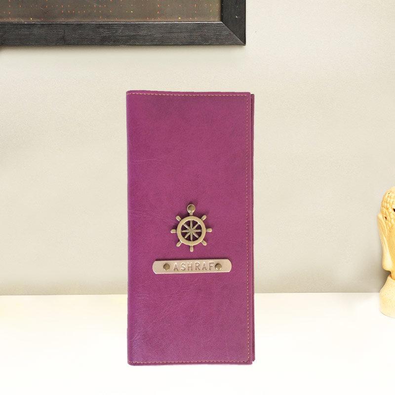 Personalised Purple Coloured Travel Folder